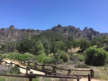 Pinnacles national park hiking area with moss covered trees and fence high peaks trail Royalty Free Stock Photos