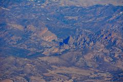 Pinnacles national park machete Ridge aerial photo. Winter at Pinnacles National Monument - drought conditions California Soledad United States USA photo Stock Images