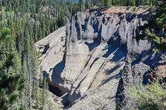 The pinnacles. Overview of the Pinnacles at the Crater Lake National Park, Oregon. After the volcano explosion, very hot ash and pumice came to rest near the Royalty Free Stock Photography