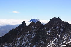 The Pinnacles. Pinnacle Ridge with Mt. Ngauruhoe in the background Royalty Free Stock Image