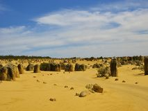 The Pinnacles in the dessert. The Pinnacles, travel destination in Western Australia royalty free stock image