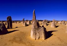 The Pinnacles in Western Australia. The Pinnacles, limestone formations contained within Nambung National Park, Western Australia Stock Images