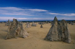 The Pinnacles, Western Australia. The Pinnacles are limestone formations in the Pinnacles Desert about 3 hours drive north of Perth, Western Australia Royalty Free Stock Photo