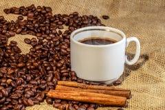 Pinnar för  för kaffe Ñ övre och kanelbruna på grillade kaffebönor Fotografering för Bildbyråer