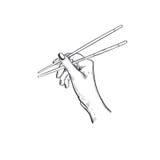 Pinnar för sushi Dragen logo för vektor hand för asiatisk mat Handhållpinnarna för sushi stock illustrationer