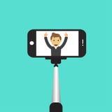 Pinne för selfie Illustration för Monopod Selfie skotttecknad film Illustration för Selfie pinnebegrepp Royaltyfri Bild