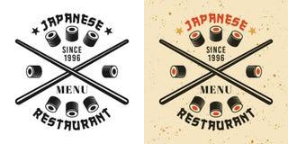 Pinne- och för sushirullar emblem royaltyfri illustrationer