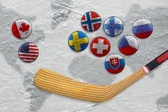 Pinne, puck med bilder av flaggor och hockeyfält Royaltyfri Foto
