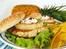 Pinneapple burger Stock Photo