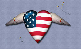 Pinned American Heart Royalty Free Stock Images
