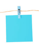 Pinned blue notepad isolated on white background Stock Photography