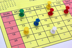 Pinned calendar Royalty Free Stock Photo