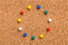 Pinned on corkboard. Corkboard noticeboard thumbtack announce announcement background royalty free stock image