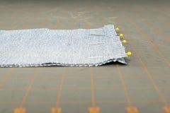 Pinned Denim Quilt blocks Royalty Free Stock Image