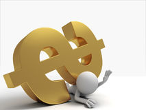 Pinned by dollars. A 3d people was pinned by dollars Royalty Free Stock Photography