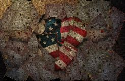 Pinned freedom. Heart with stars and stripes, pinned wings. Image composed entirely of text, words Royalty Free Stock Images