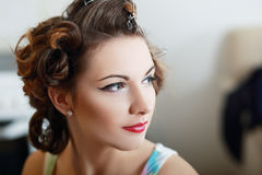 With pinned hair Royalty Free Stock Images
