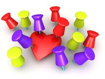 Pinned Heart. An illustration of a heart pinned by cork board pins Royalty Free Stock Images