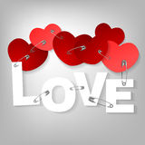 09 pinned heart. The illustration of a pinned red hearts. Vector image stock illustration