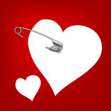 Pinned heart Royalty Free Stock Photography