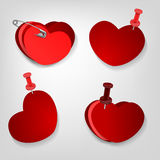 Pinned hearts set Royalty Free Stock Images