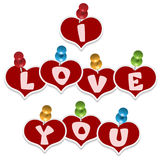 Pinned hearts and sign I love you Stock Image