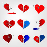Pinned hearts vector. The illustration of a pinned hearts set. Vector image Royalty Free Stock Photography