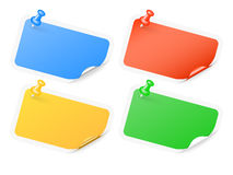 Pinned labels with curled corners Stock Images