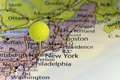 Pinned map New York USA, head of pin is tennis ball. Copy space available stock photography
