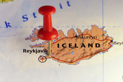 Pinned map of Reykjavik Iceland Stock Image