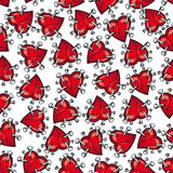 Pinned or nailed cartoon heart seamless pattern Royalty Free Stock Image
