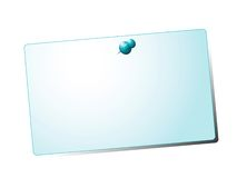 Pinned note. Pinned blue card on isolated white background Stock Images