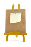 Pinned note on corkboard with wooden stand Royalty Free Stock Photography