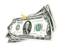 Pinned one hundred dollar bills on white background. 3D render Stock Photography
