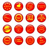 Pinned round banner set. 16 red pinned round banners vector illustration
