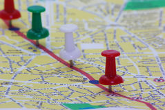 Pinned Route On Map Royalty Free Stock Photography
