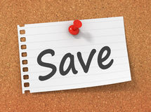 Pinned save note. On paper 3d illustration Royalty Free Stock Image
