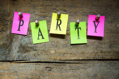 Pinned sticky notes with the word party Stock Photo