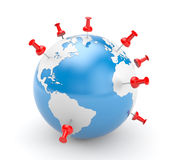 Pinned world. Business concept. Separated on white Royalty Free Stock Images