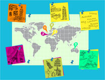 Pinned on the world map to travel Royalty Free Stock Images