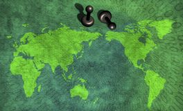 Pinned world. Map. Binary code vector illustration