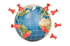 Pinned world, push pins on globe, 3D Stock Image