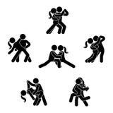 Pinnediagram dansparuppsättning Förälskad illustration för man och för kvinna på vit Pojkvän och flickvän som kysser och att kram vektor illustrationer