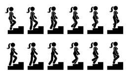 Pinnediagram kvinnlig på trappasymbolsuppsättning Vektorkvinna som går den steg-för-steg följdpictogramen stock illustrationer