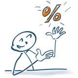 Pinnediagram med procentsatser stock illustrationer