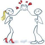 Pinnediagram som tillsammans bygger en form av hjärta med deras händer vektor illustrationer