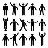 Pinnediagram stående position Posera personsymbolen göra sig till symbolteckenpictogramen på vit vektor illustrationer