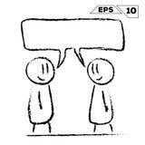 Pinnediagramet man för konversation 2 med talar bubblan royaltyfri illustrationer