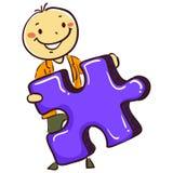 Pinnemanpojke som rymmer ett pusselstycke stock illustrationer