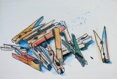 Pinnen skissar Arkivbilder